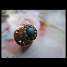 Antique 10K Persian Turquoise Seed Pearl Tie Tac