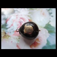 Antique Chestnut Watch Fob With Gold Findings