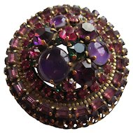 Vintage Weiss Multi Colored Rhinestone and Cabochon Brooch