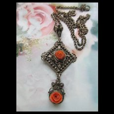 Vintage Silver Natural Coral Roses Lavaliere Necklace circa 1930