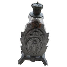 Vintage Religious Holy Water Bottle Notre Dame