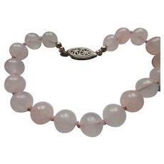 Vintage Rose Quartz Bracelet with Sterling Clasp