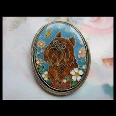 Vintage Enameled Sterling Dog Pin signed YC