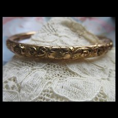 Antique Repousse Double Sided Bangle Bracelet in Gold Fill