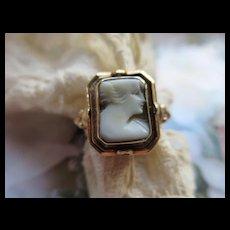 Vintage Circa 1940 Cameo Flip Ring