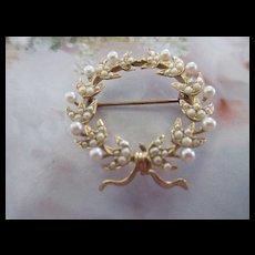 Antique Circa 1915 14K Laurel Wreath Seed Pearl  Watch Pin