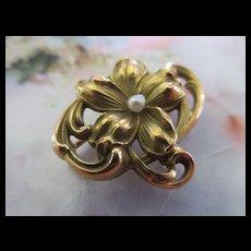 Victorian Antique 10K Floral Watch Pin