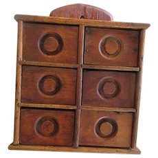 Early 20Th Century Six Drawer Hanging Spice Box