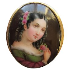 Antique Victorian Hand Painted Oval Porcelain Portrait Brooch Gold Filled