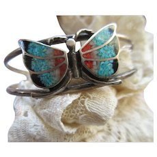 Vintage Sterling Inlay Butterfly Cuff Bracelet Native American