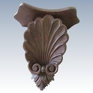 Vintage Carved Walnut Wall Shelf Bracket Sea Shell Motif