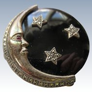Vintage Sterling Crescent Moon Starry Night Brooch