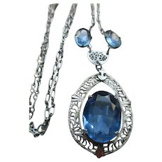 Vintage Deco Blue Crystal Filigree Necklace