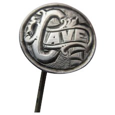 Antique Love Token Stick Pin Canadian Coin