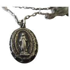 Vintage Sterling Miraculous Medal Necklace