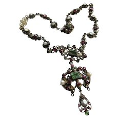 Antique Austro Hungarian Necklace Brooch and Earrings TLC
