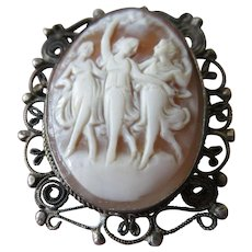Vintage Three Graces Carved Shell Cameo Pin
