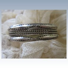 Vintage Sterling Navajo Double Cable Cuff Bracelet signed TAHE Sterling