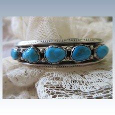Sterling Native American Vernon Begay Turquoise Cuff Bracelet Navajo