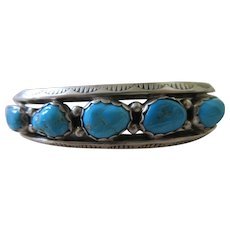 Sterling Native American Vernon Begay Turquoise Cuff Bracelet Navajo