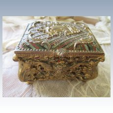 Vintage Enameled Jewelry Box Hinged Box