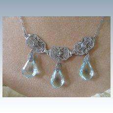 Vintage 20s 30s Deco Crystal Filigree Necklace