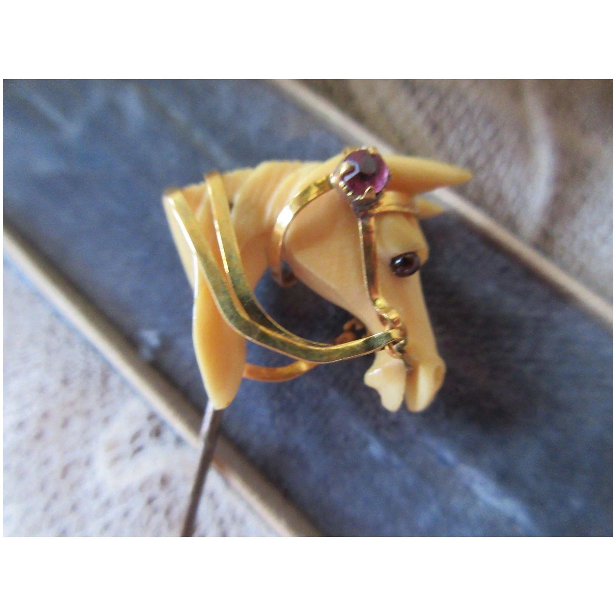 Antique Carved Bone Horse Stick Pin With Gold Fill And Paste Accents Pauline Street Ruby Lane