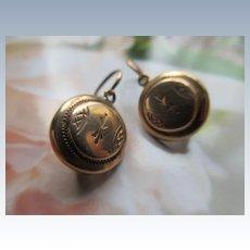 Antique Victorian 10K Pierced Earrings