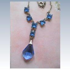 Vintage Deco 30s Chicklets Blue Necklace