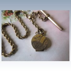 Antique Watch Chain with Tiny Locket Fob