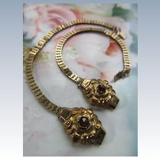 Antique Victorian 9C Pair of Baby Bracelets Rose Cut Garnets