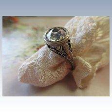 Vintage 20s 30s Deco Sterling Paste Ring