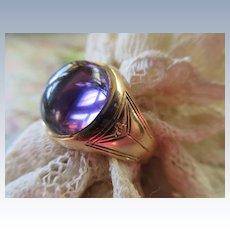 Vintage 14K Art Deco Era Amethyst Cabochon Ring