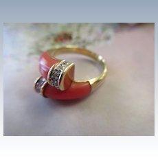 Vintage 14K Coral Diamond Ring 585 Italian