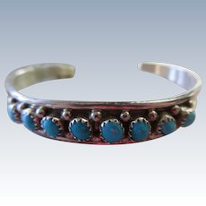 Sterling Turquoise Cuff Bracelet Native American signed EC