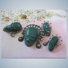 Vintage Mexican Carved Mask Pierced Earrings ans Scatter Pins Set