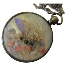 Antique Crystal Dried Butterfly Locket Necklace