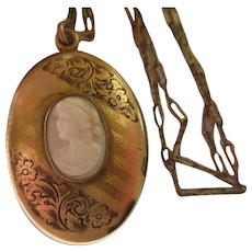 Antique Angel Skin Coral Cameo Locket Necklace