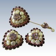 Vintage Lawrence Vrba Stick Pin Clip On Earrings Set