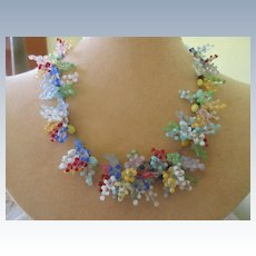Vintage Glass Beads and Berries Necklace