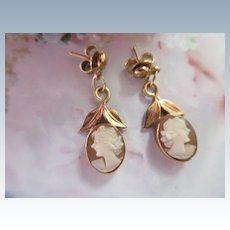 Vintage Carved Shell Cameo Earrings in Gold Fill