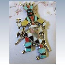 Vintage Signed Native American Dancer Pin Pendant Sterling LINETTE LAIWAKETE ZUNI
