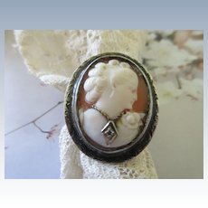 Vintage Silver Carved Shell Cameo Habille Ring