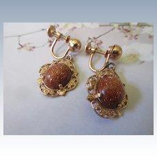 Vintage Uncas Gold Fill Screw Back Earrings