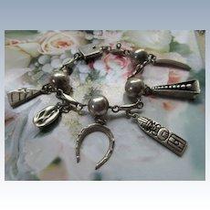 Vintage Mexican Sterling Charm Bracelet