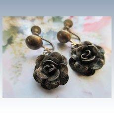 Vintage Sterling Flower Screw Back Earrings Jewel Art