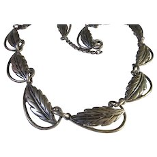 Vintage Danecraft Sterling Leaf Necklace