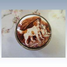 Vintage Enameled Sterling Pill Box Dog Theme