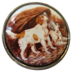 Vintage Enameled Sterling Pill Box Dog Theme