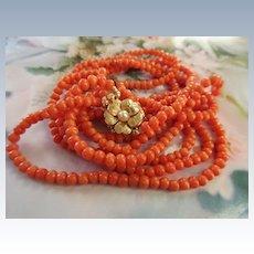 Vintage 14K Double Strand Coral Necklace